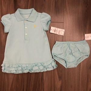 Cute Light Blue Polo Dress w/Bloomers, SZ 6M